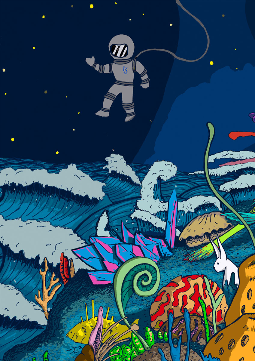 Underwater spaceman reaching to the moon